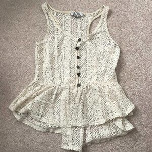 Pinky Button Down Sleeveless Cream Lace Top Sz M